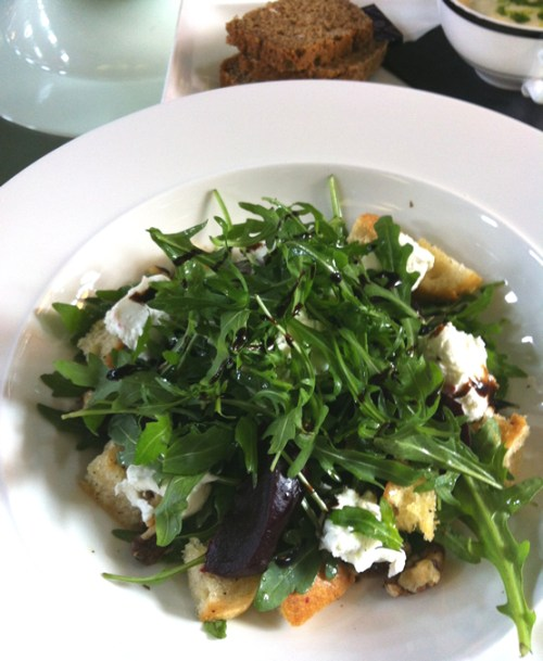 Fresh goats cheese salad with beetroot, rocket and plenty of croutons