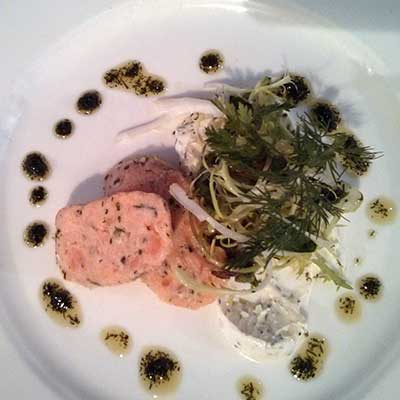 Salmon rillette, fresh, moist and deliciously dill-flavoured.