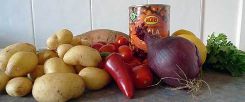 Potato and chickpea salad ingredients (minus the leaves): healthy, tasty and easy to get hold of.
