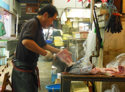 Making short work of a Tuna, fish market, Tokyo