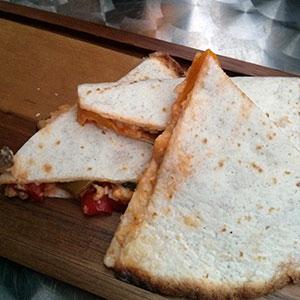 Tasty vegetable quesadillas at StreetBar, Edinburgh.