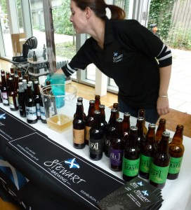 Lining up the beer on the Stewart Brewing Stand