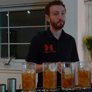 William waits for us to come claim our dark and stormy's, as soon as we're done comparing bitters.