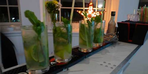 A line of mojitos waiting to start the party.