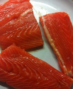 Fresh trout fillets