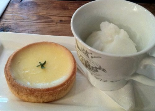 Lemon tart and gin sorbet at the Blackbird