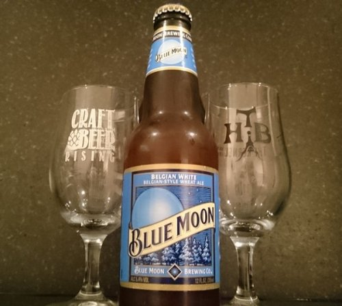 Blue Moon bottle and two schooner glasses