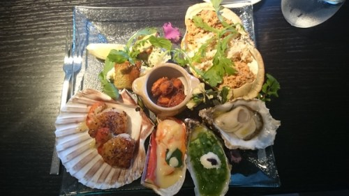 Seafood platter: crab, oysters, lobster, scallops, white fish, mussels