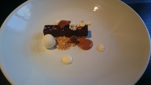 Chocolate delice and creme fraiche ice cream