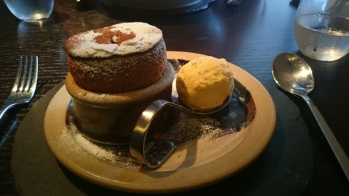 Marmalade souffle & mealie ice cream