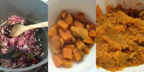 Preparing the potato mixture for the fishcakes