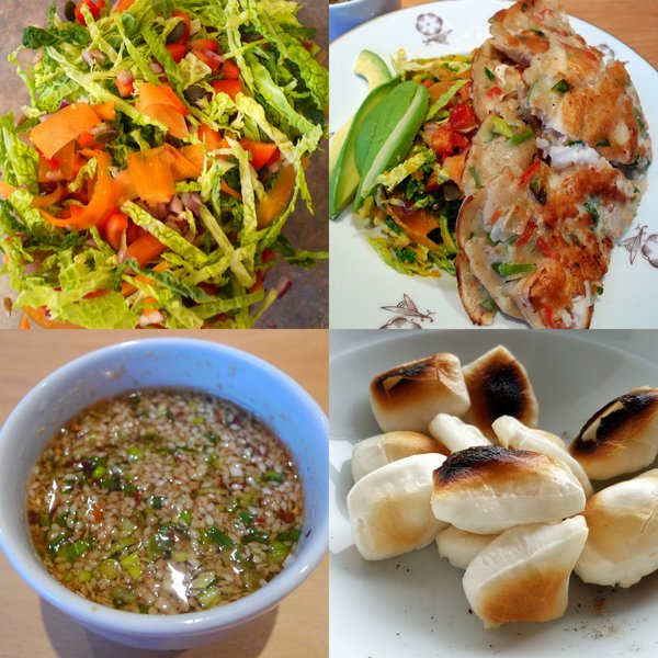 Super salad, sea food pancakes, the dipping sauce of delight, toasted rice cakes.