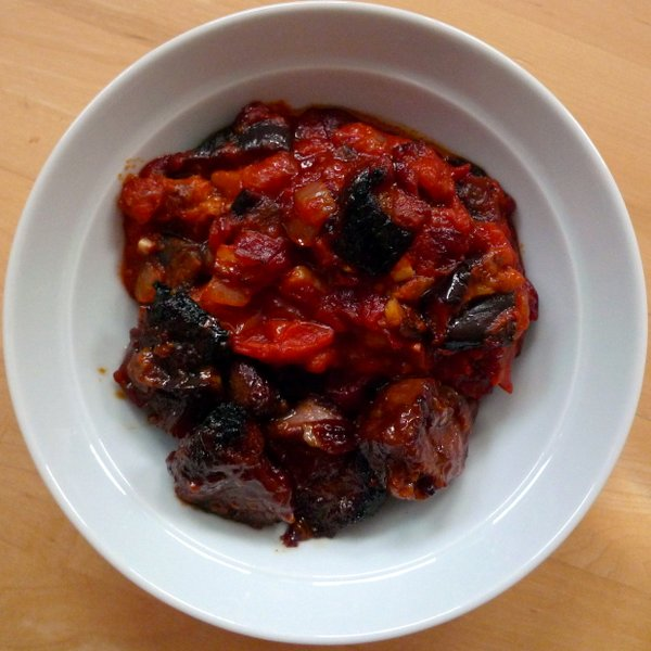 Teda Huda's moussaka - what tomatoes were grown for.