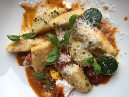Potato gnocchi with smoked ricotta cheese