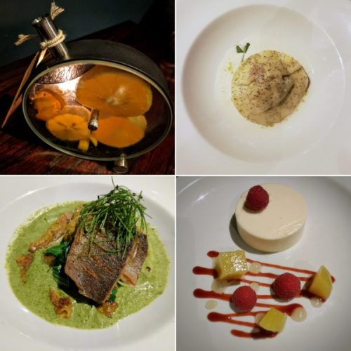 The Basin Street porthole, raviolo, bavarois and sea bream with spätzle.