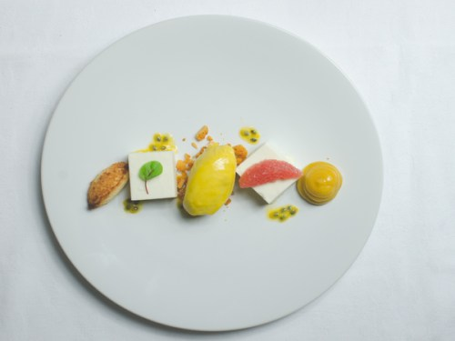Coconut mousse and mango sorbet