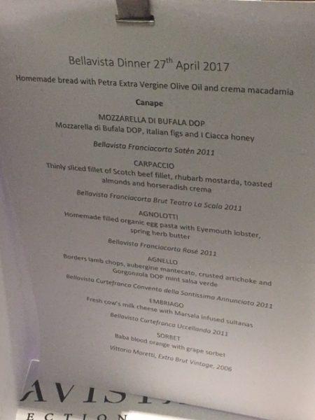The Bellavista Collection menu