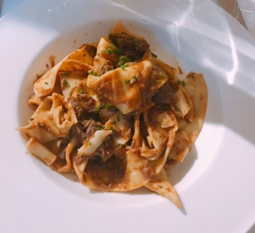 Venison ragu, chives and pappardelle