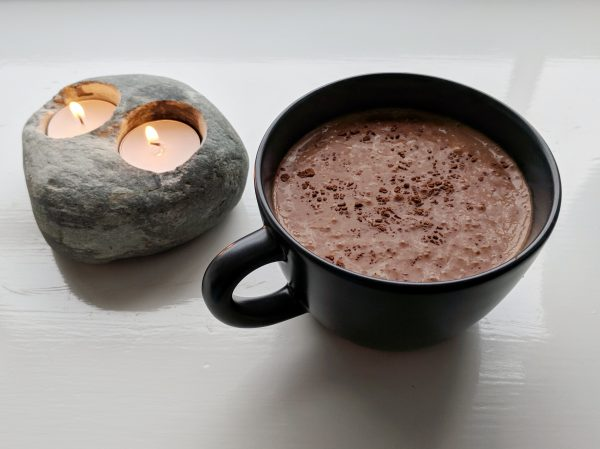 A small serving of cocoa and nutritionally rounded meal replacement. Not a spot of sugar or sweetener in sight.