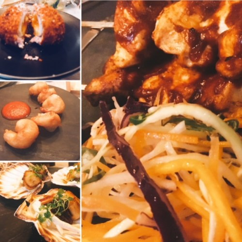 Short rib Scotch egg; crispy shrimp with bloody mary ketchup; scallops and pigs cheek; and hot chicken skewers with whipped blue cheese