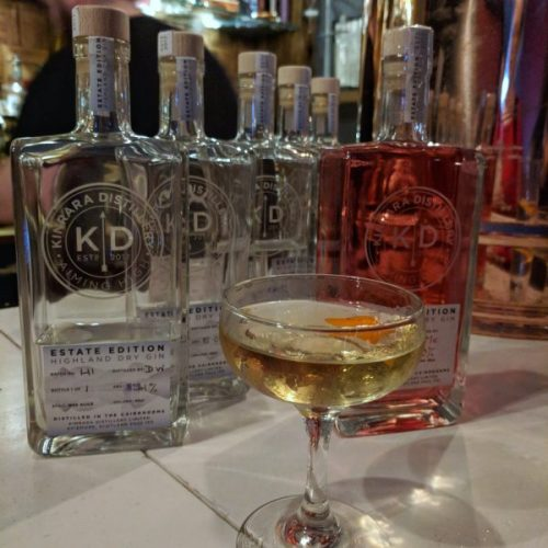 The spirits we tried and a clean, delicious Kinrara martini.