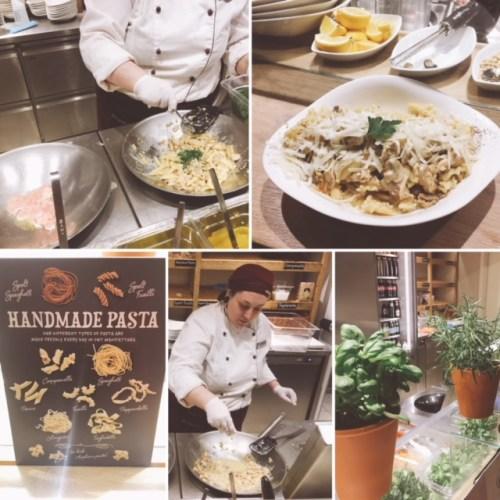 Michelle cooks up my Chicken Alfredo pasta at Vapiano