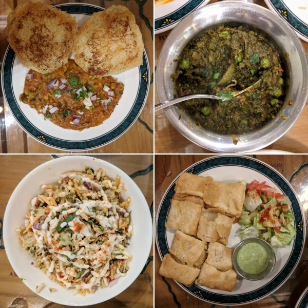 Clockwise from the top left: pav bahji, spinach and peas, muglai paratha, behl puri.