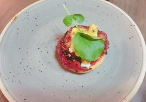 Fig and red pepper tart, Crowdie, mustard vinaigrette (v)