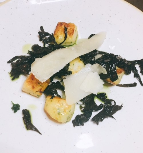 Herb gnocchi, trompette mushrooms, pecorino - little pillows of fluffy potatoes
