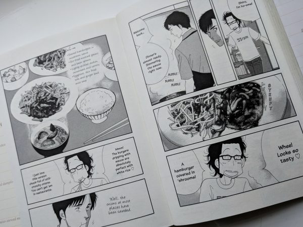 Shiro cooks for Kenji who is always appreciative. HEre, he gets one of his favourite dishes: stewed burgers with mushrooms.