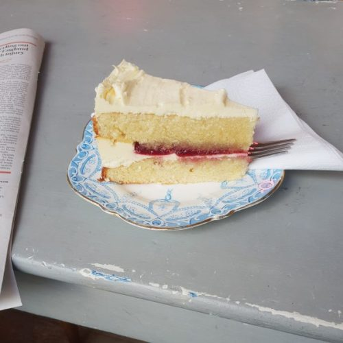 Victoria sponge! Take it easy, relax, and get some sugary goodness.