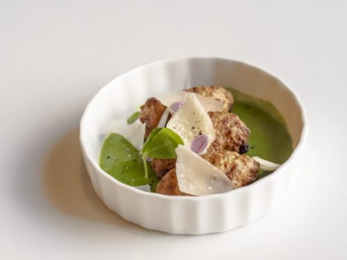 Cauliflower and parmesan beignets with rocket pesto.