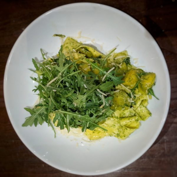 A hearty helping of papardelle and carrots with kale pesto. The rocket added a peppery crunch.