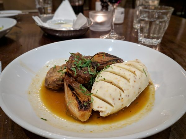 Tender pigs cheeks with caramelised shallots and a mountain of silky mash.