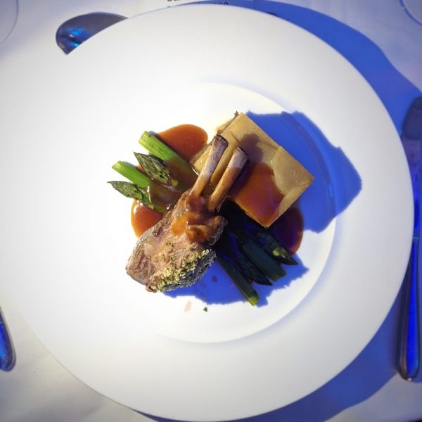 Rack of lamb and boulangere potatoes. I can't imagine what it's like to be in the kitchen, knowing you're cooking for 130 people, some of which are Edinburgh's very best and brightest chefs.