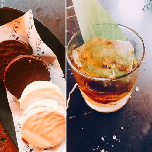 The Caledonian whisky based cocktail cut through the sweetness of the Alfajores