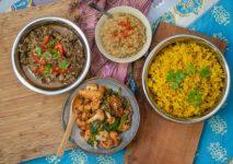 The Goan Spice Pioneer box - chicken Goan xacuti, dhal curry, panch phoran cauliflower with spinach and pilau rice