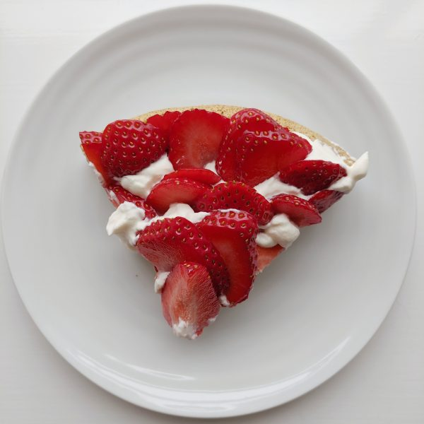 A piece of strawberry and cream cake. I can't think of much that says summer more loudly to me.