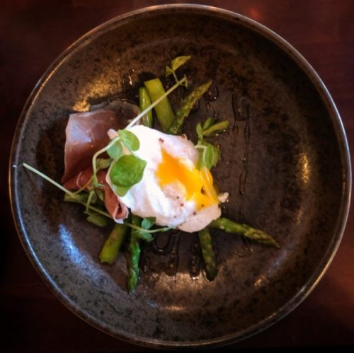 Slow cooked duck egg: my hero dish of the evening. Lovely.