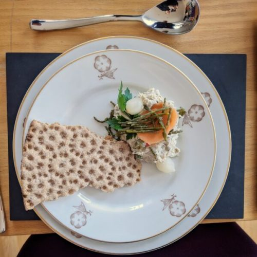 Mackerel rillettes with pickled veg from La Garrigue. Crispbread, photographer's own.