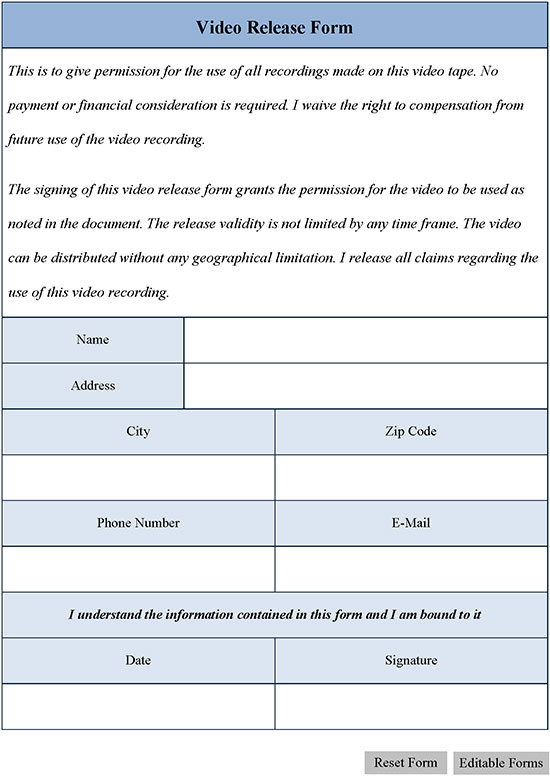 Video Release Form Editable Forms - video release forms
