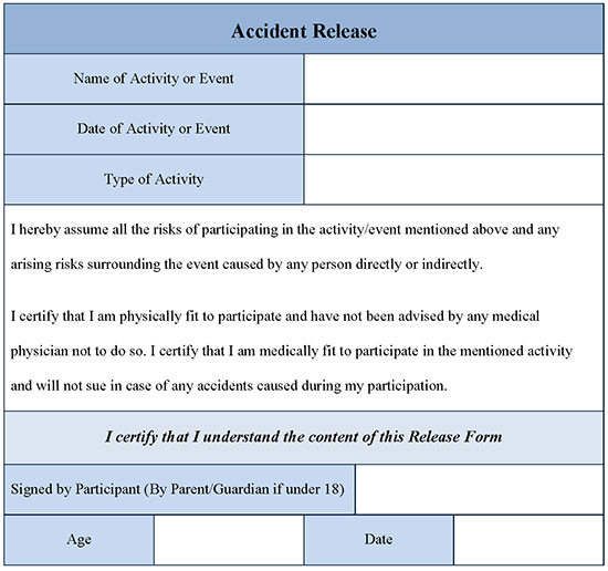 Accident Release Form Editable Forms - accident release form