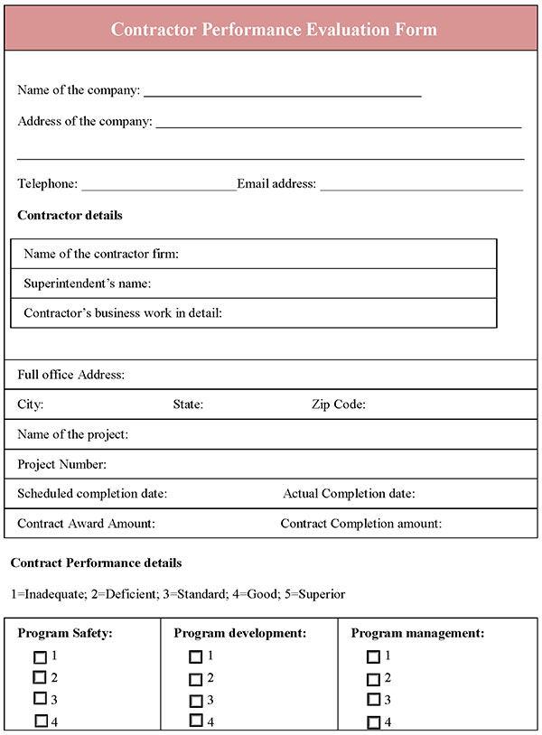 Performance Evaluation Forms Free Download – Performance Review Template Free Download