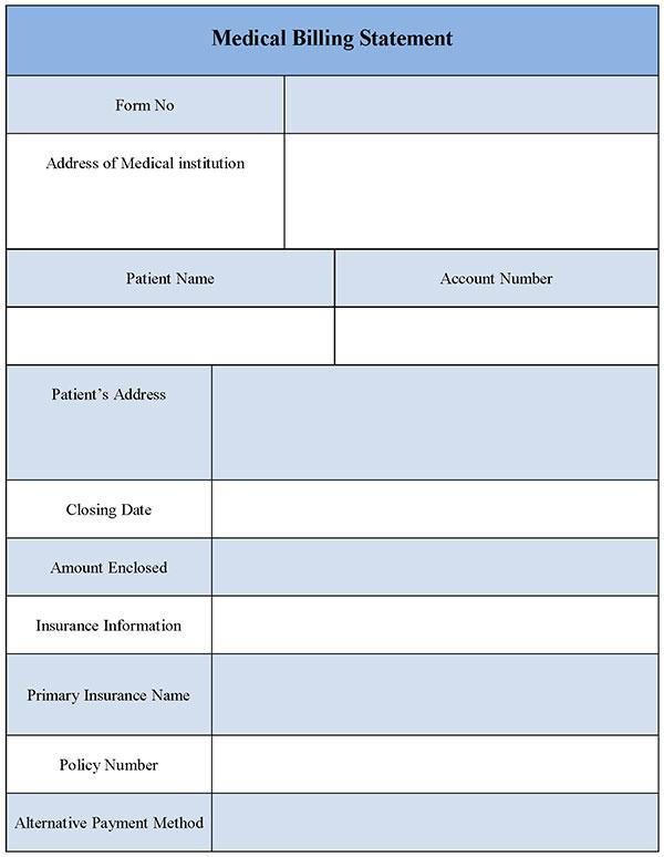Medical Billing Statement Form Editable Forms - billing statement template
