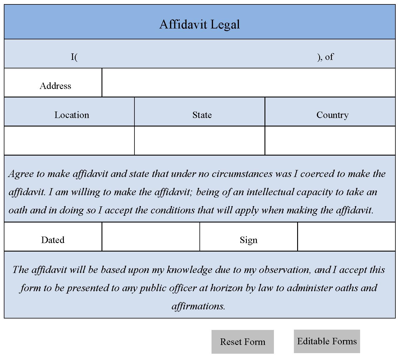Free Affidavit Form Template free blank forms spreadsheet – Free Affidavit Form Template