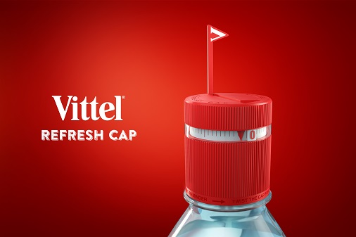bouchon eau mineral vittel refresh cap minuteur