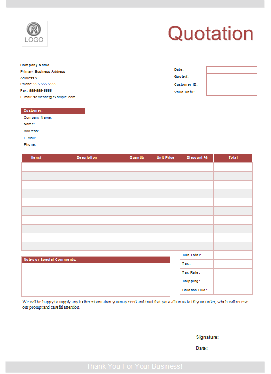 Quote Form Templates - Free Download