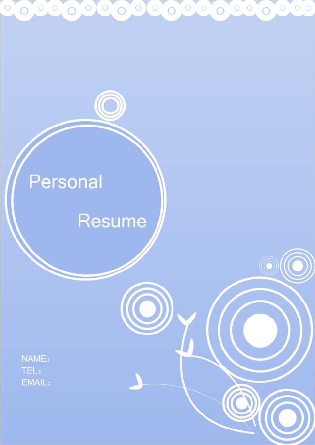 template for cover page of resume