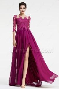 Magenta Bridesmaid Dresses Long Sleeves Modest Formal ...