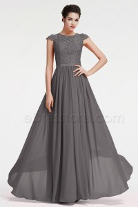 Modest Charcoal Grey Bridesmaid Dresses Cap Sleeves